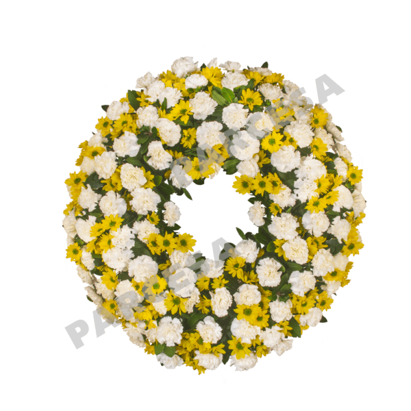 Corona de claveles y margaritas P5   TIENDA PARCESA